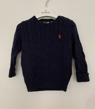 Baby Boy Ralph Lauren Cable Knit Jumper Age 12 Month Navy Blue Cotton Long Sleev