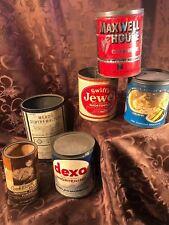 6 vntg Crisco Dexo Mead's Dextri-Maltose Swift's Jewel Maxwell House metal cans