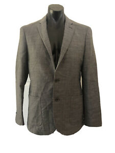 Saba Grey Wool Jacket Size 38 Houndstooth Pockets Collar Long Lined Sleeve