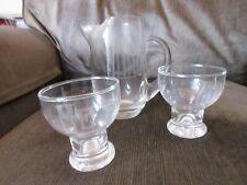 CLEAR CRYSTAL SMALL BAR PITCHER & TWO GLASSES, ENGRAVED, VERY NICE!