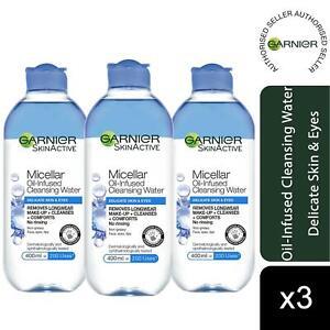 3 Pack Garnier Micellar Water Facial Cleanser Delicate Skin and Eyes 400ml