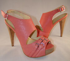 BE & D    WOMEN'S HEELS PUMPS SHOES IN BEAUTIFUL CORAL COLOR NEW, MADE IN BRAZIL
