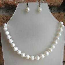 """Real Freshwater Cream Pearls 925 Silver Wedding Bridal Necklace Earrings Set 18"""""""