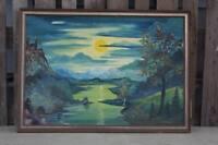 riesiges Öl Gemälde - Sonnenaufgang -Untergang + Landschaft + Burg - Henoch  /H