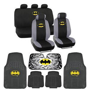 Warner Brothers Batman Gift Set -Car Seat Covers, Rubber Floor Mats, Autoshade