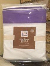 Pottery Barn Suite Organic King Size Purple White Sheet Set New