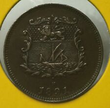 1891H British North Borneo 1/2 cent  coin scare high grade