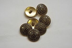8pc 18mm Antique Gold Turkish Inspired Metal Coat Cardigan Knitwear Button 3348