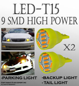 2 pairs T15 LED Chip Yellow Wedge Direct Plugin for Parking Car Light Bulbs J148