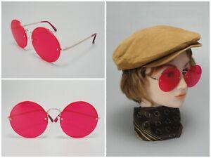 Retro Vintage Round Lens Pink Sunglasses Janis Joplin Flower Child Hippy Style