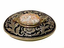 Womens Belt Buckle Western Gold Tone Polished Agate