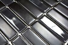 Mosaïque carreau céramique baguettes noir mat verre cuisine 24-ST365_b |1 plaque
