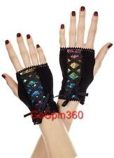 RAINBOW SEQUIN Wrist Length Fingerless Gloves w/ Corset Straps - BLACK