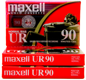 Maxell UR 90 Minutes Blank Audio Cassette Tapes 2002 Brand New & Sealed x 3