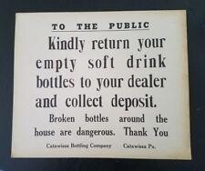 Vintage Catawissa Bottling Company Sign PA Pennsylvania