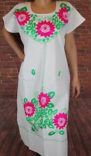 L Peasant Boho Tunic Hippie Hand Embroidered Mexican Huipil Dress 100% Cotton