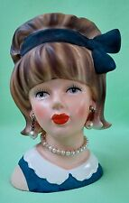 Gorgeous 1950's ENESCO Young Lady Head Vase # E-7013