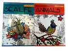 Sea Life  Animals Adult Coloring Book Color to Music Series Books Set of 2 NEW