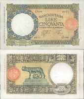 REGNO D'ITALIA, STUPENDO 50 LIRE LUPA CAPITOLINA DEC.29 APRILE 1940
