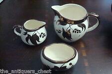 L & Sons, Hanley, England, c1900s, 3 pcs pieces milk jar, creamer & sugar[coppbo