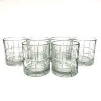 "6 VTG ANCHOR HOCKING TARTAN On The Rocks Dbl Old Fashion Glasses Tumblers 3 1/2"""