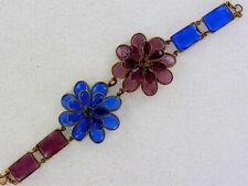 Exquisite French France Double Flower Poured Glass Pate de Verre Bracelet BR706
