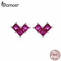 BAMOER Women Stud Earrings S925 Sterling silver Heartbeat With Purple CZ Jewelry