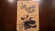 Vintage I LOVE COUNTRY MUSIC Horse Donkey WOODEN SIGN Plaque Wood 1970s