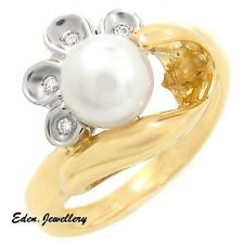 US$1329 High Quality Ring Super Clean Diamonds Freshwater Pearl 18K Gold 75% OFF