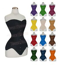 Heavy Duty Double Steel boned Overbust Twill Cotton LongLine Torso Corset 8151C