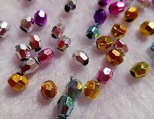 100pcs x 5mm metallic effect faceted beads