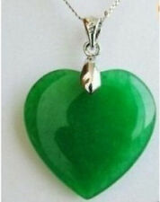 Green Jade Heart Shape Silver emerald Pendant /necklace + Chain