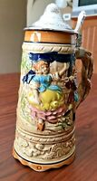 Vintage Lidded Beer Stein with Music Box in Bottom (Working)