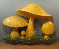 Vintage Plastic Mushroom Wall Hanging Decor 1970 Dart Ind Yellow Merry Mushroom
