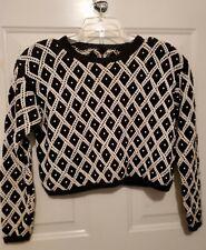 Vintage Beaded Crocheted Crop Black Ivory Short Sweater S/M Diamond Pattern