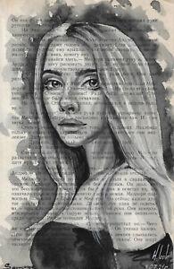 original painting 13,5 x 21,5 cm 248LN book page art watercolor woman portrait