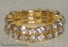 Gold-Tone Stretch Toe Ring Double Row Clear Crystal