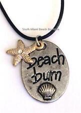 Silver Gold Starfish Shell Pendant Necklace Sea Life Island Beach Bum Message