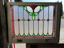 ~ ANTIQUE AMERICAN STAINED GLASS WINDOW ~ 28.75 x 22 ~ ARCHITECTURAL SALVAGE