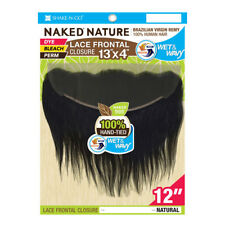 """NAKED VIRGIN REMY HUMAN HAIR WET&WAVY 13x4 LACE FRONTAL CLOSURE LOOSE CURL 12"""""""