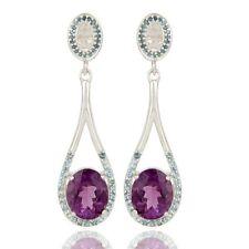 Amethyst Blue Topaz 925 Sterling Silver Dangle Earrings Gemstone Jewelry