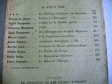 LA REVUE DE PARIS n° 16 - 1933 revue littéraire BALZAC MAUGHAM FLAMENT etc