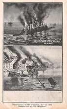 1896 Destruction of the Virginia and the Merrimac Antique Postcard J63463