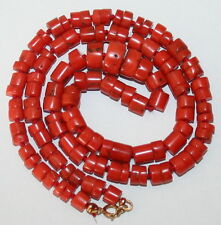 ANTIQUE REAL SALMON CORAL 5mm-10mm Beads 9K GOLD CLASP FINE KNOTTED 23g NECKLACE