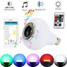 Wireless Bluetooth Bulb LED RGB Light Speaker 12W Smart Music Play Lamp + Remote