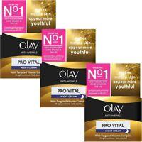 3 Olay Anti-Wrinkle Night Cream Pro Vital AntiAgeing Moisturiser MatureSkin 50ml