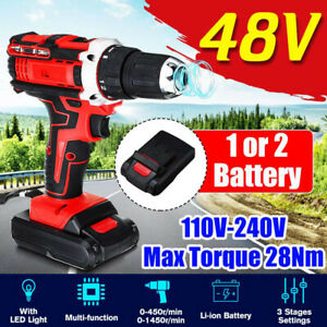 48V 1500RPM 28Nm Electric Screwdriver Hammer Cordless Drill 1500W w/Battery Set