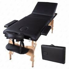 "84""L Black 3 Fold Portable Massage Table Facial SPA Bed Tattoo W/Free Carry Case"