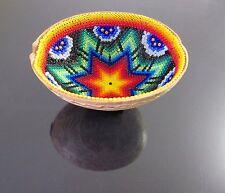 HUICHOL Beaded PRAYER BOWL Carved Gourd Art Mexican Peyote Star Folk Art