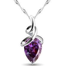 Elegant Silver Amethyst Deep Purple Teardrop Zircon Pendant Necklace N513